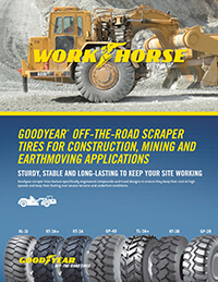 Goodyear Off-the-Road scraper tires for construction, mining and earthmoving applications